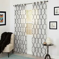 "*Lavish Home Elisa Emboidered Curtain Grommet-Top Panel 54""W108""L Charcoal NEW"