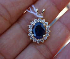.60ct H/Si1-Si2 diamond 1.50c blue sapphire hollow pendant no chain