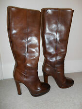 Russell & Bromley Brown 100% Leather Brown Boots Shoes £300 Size 38  UK 5
