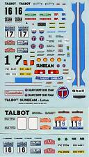 TALBOT SUNBEAM LOTUS WORLD RALLY 1980/81 VARIOUS DECALS 1/43