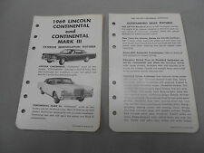 Vintage 1969 Lincoln Continental and 1969 Continental Mark III Literature