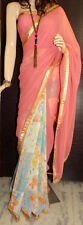 Indian Summer collections Designer Peach & Printed Border Saree with Blouse Sale