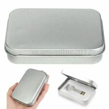 Survival Kit Tin Hinged Lid Silver Small Empty Plain Storage Bit Box Metal Case