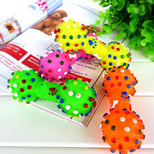 New Pet Chew Toy Soft Small Rubber Bone Squeaky Toys Colorful Dot For Puppy Dog