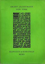 Archiv und Teile der Sammlung J. B. Neumann/Klipstein & Kornfeld, Bern, 1962
