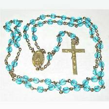 Rosary aqua-blue faceted glass beads B9