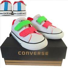 KID Toddler Boy Girl CONVERSE All Star WHITE NEON VELCRO Trainers Shoe UK SIZE 5