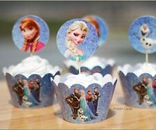 Disney Frozen Cupcake Cup Cake Cases Toppers Wrappers PARTY DECORATION GIFT TOY