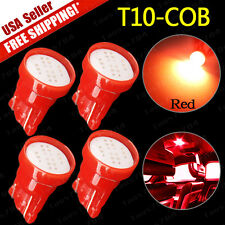 4x Pure Red T10 COB LED Side Wedge Car Instrument Cluster Lights W5W 194 168 US