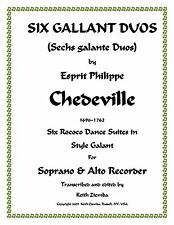 6 Gallant Duos by Chedeville for 1 Soprano & 1 Alto Recorder Duets Rococco NEW