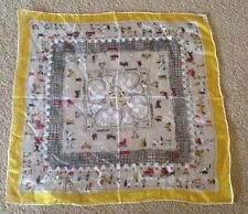 Vintage Handkerchief Made In Japan Pure Silk Hand Rolled - Country Scene *