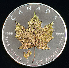 Gold Gilded 2017 Canada Rooster Privy Maple Leaf 1 oz Silver Coin Reverse Proof