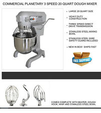 New 3 Speed Commercial Planetary 20 QT Stand Dough Mixer with 3 Attachments