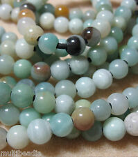 "Amazonite 8mm Round Large 2mm Hole Beads 8"" Leather Cord Chain"