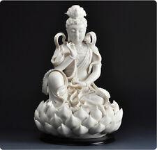 """12"""" Chinese Dehua White Porcelain Lianhua Kwan-yin Guanyin Buddha Statue"""