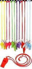 12x Plastic neon carnival rave whistles with cord Party bag fillers disco UK SEL