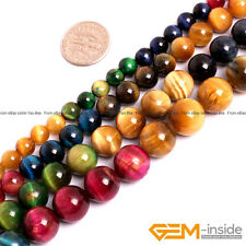 """Assorted Pink Green Gold Blue Tiger's Eye Round Beads 15"""" 6mm 8mm 10mm 12mm"""