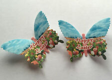 12 Happy Easter Tulips Field & Sky Wafer Paper Butterflies Cupcake Cake Toppers
