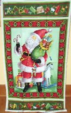 "1 Colorful ""Old Fashioned Santa Claus""  Fabric Quilting Crafting Christmas Panel"