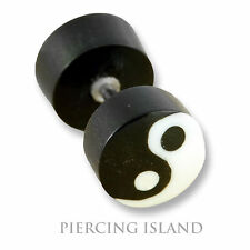 Ohrringe Ying Yang Fake Flesh Tunnel Horn Bone Ear Plug Ohr Piercing F109
