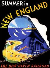 ART PRINT POSTER VINTAGE TRAVEL NEW HAVEN RAILROAD NEW ENGLAND NOFL1536