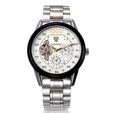 Luxury Stainless Steel TEVISE Skeleton Mechanical Automatic Men Wrist Watch+Box