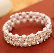 Fashion Pearl Rhinestone Cuff Bangle Wedding Bridal Ladies Wristband Bracelet UK