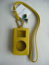 NWT CHRISTIAN DIOR Yellow Leather Mini Ipod Pouch w/Long Strap
