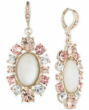 GIVENCHY White Mother Of Pearl Pink Peach Crystal Gold-Tone Drop Earrings $68