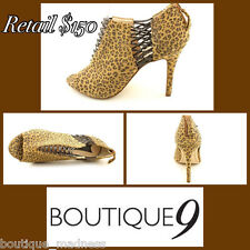$150 Nine West Boutique 9 Lava Leopard Animal Print Open Toe Heels 7.5 SALE!
