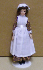 1:12 Scale Maid In A Brown Dress Dolls House Miniature People - Dolls
