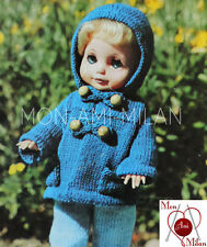 "Knitting Pattern 10 12 14"" DOLLS CLOTHES HOODED DUFFLE COAT TROUSERS SWEATER PDF"