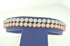 """14k Two Tone Gold 2 Row 6.00 CT Diamond Bracelet, 22.7gm, 7"""""""