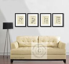 Guitar Poster Pickup Bridge patent drawing set of 4 Art Print Music Decor