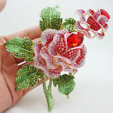 HUGE 4,6''  RUNWAY PINK RED ROSE FLOWER BROOCH SWAROVSKI CRYSTALS - NEW
