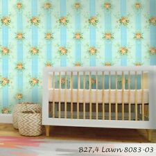 Vintage style paper Wallpaper blue flowers rolls wallcovering blue stripe floral