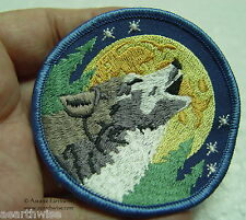 WOLF FULL MOON SEW ON CLOTHING PATCH - Wicca Pagan Witch TOTEM Goth Shamanic