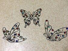Fluttering Butterflies Metal Wall Decor Trio Gems Acrylic Glass Beaded Wall Art