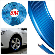8M Chrome Blue Glossy PVC Car Wheel Hub Rim Edge Protector Ring Tire Guard Line