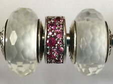 1 set 3 beads  Authentic Pandora 925 ale silver beads charm white stoper