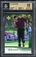"TIGER WOODS~RARE 2001 UPPER DECK #1 GRADED ""BGS-10 PRISTINE"" ROOKIE RC GOLF CARD"