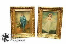Sir Thomas Lawrence's Blue Boy & Pinkie Antique Oil Paintings in Gilt Frames