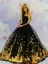 Fashion Princess Party Black Sequin Dress Wedding Clothes/Gown For Barbie Doll