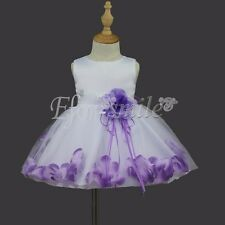 Baby Girls Flower Party Formal Christening Wedding Bridesmaid Party Petal Dress