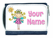 PRINCESS FAIRY PERSONALISED LADIES / GIRLS DENIM PURSE / MINI WALLET -NAMED GIFT