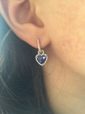 10K WHITE GOLD PAVE DIAMOND CREATED BLUE SAPPHIRE HEART DANGLE DANGLING EARRINGS