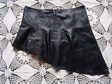 100% Genuine leather black asymetrical gothic biker sexy miniskirt Divided 6