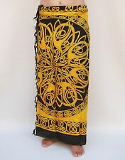NEW UNISEX YELLOW & BLACK CELTIC DESIGN SARONG BEACH POOL WRAP PAREO BNIP /sa056