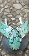 OLD VINTAGE NATIVE AMERICAN STERLING SILVER # 8 LAPIDARY TURQUOISE CUFF BRACELET