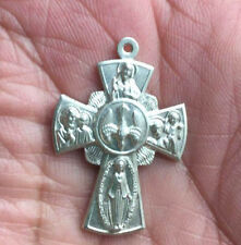 VINTAGE sterling SILVER 3 DIMENSIONAL 4 WAY religious CROSS pendant CHARM